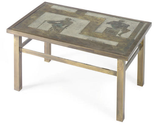 A PATINATED METAL COFFEE TABLE
