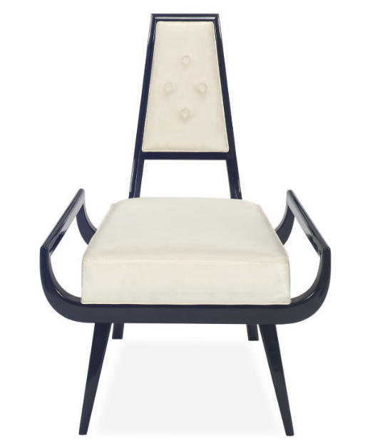 AN EBONIZED AND UPHOLSTERED SIDE CHAIR,