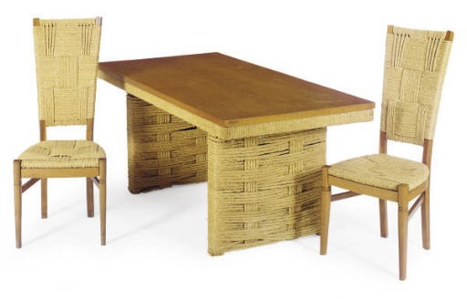 A FRENCH OAK AND ROPE DINING T