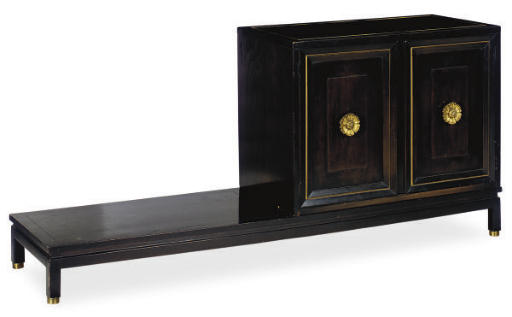 A STAINED MAHOGANY AND PARCEL-