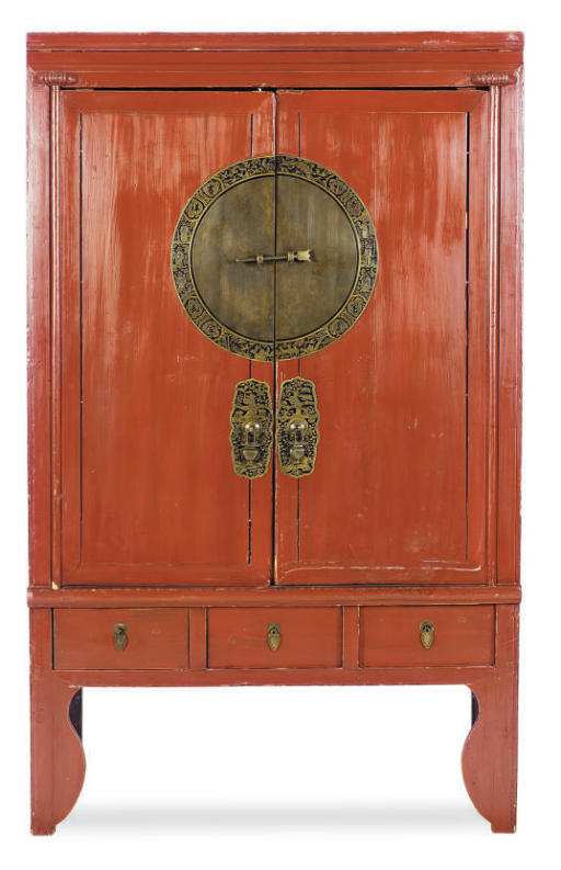 A CHINESE RED-LACQUER CABINET,