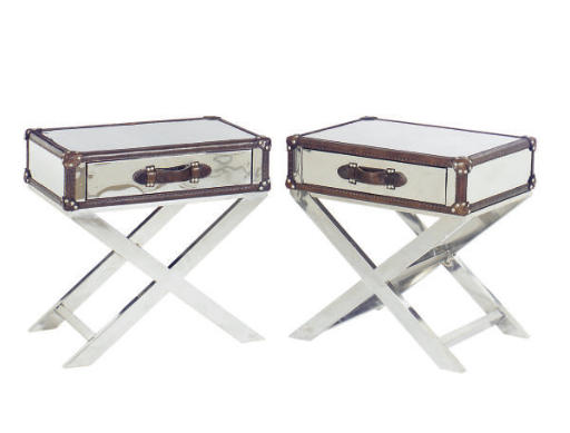 A PAIR OF LEATHER-BOUND CHROME