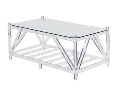 A LUCITE LOW TABLE,