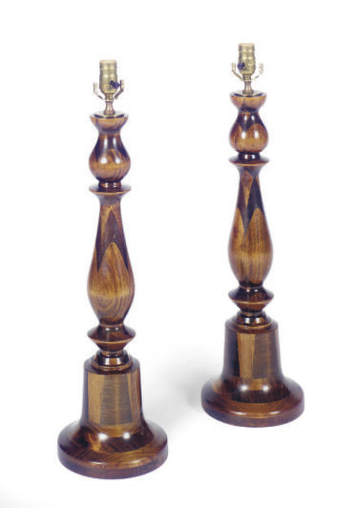 A PAIR OF STAINED-WOOD TABLE L
