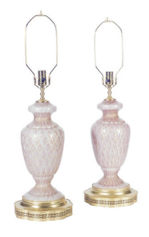 A PAIR OF MURANO TABLE LAMPS,