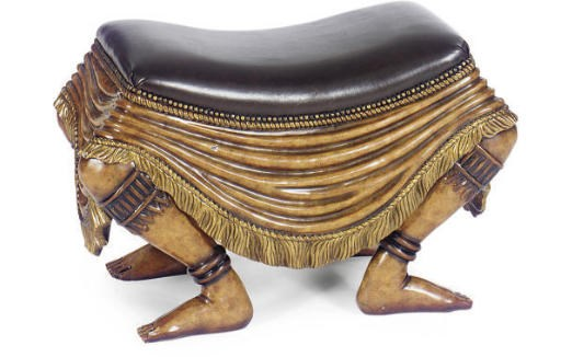 A PAINTED AND PARCEL-GILT FIGU