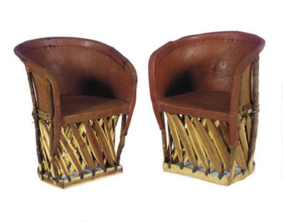 A PAIR OF RED LEATHER AND WOOD