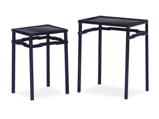 TWO EBONIZED STACKING TABLES,