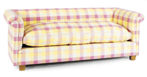 A PINK AND YELLOW UPHOLSTERED