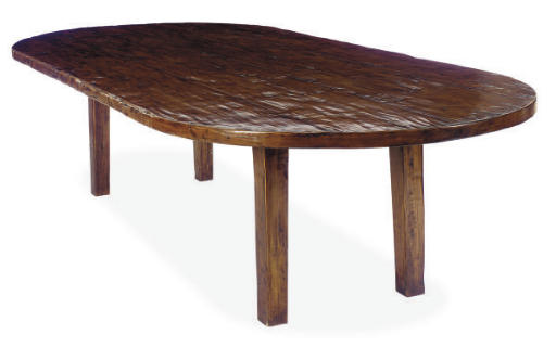 A LARGE HARDWOOD OVAL DINING T