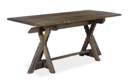 A STAINED PINE REFECTORY TABLE