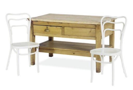 A PINE WORK TABLE,