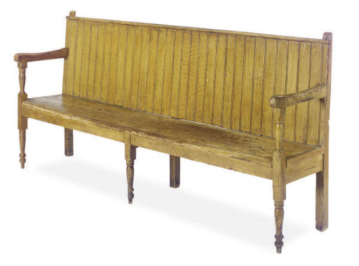 A PAINTED PINE HALL BENCH,