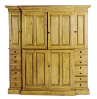 A PINE BREAKFRONT CABINET,