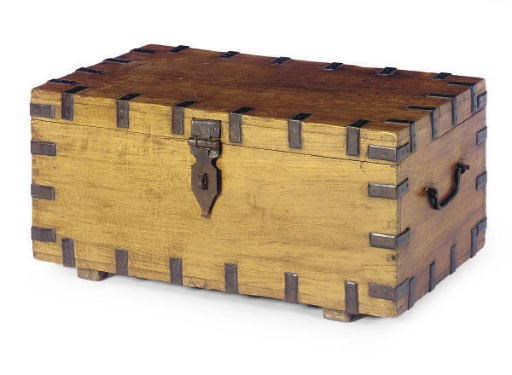 A METAL MOUNTED HARDWOOD CHEST