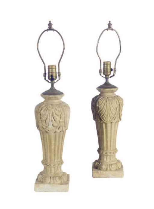 A PAIR OF TERACOTTA TABLE LAMP
