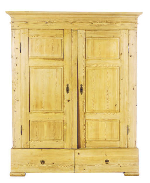 A PINE TWO-DOOR ARMOIRE,