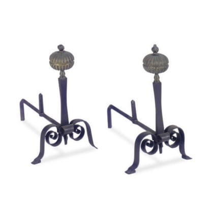 A PAIR OF IRON AND BRONZED MET