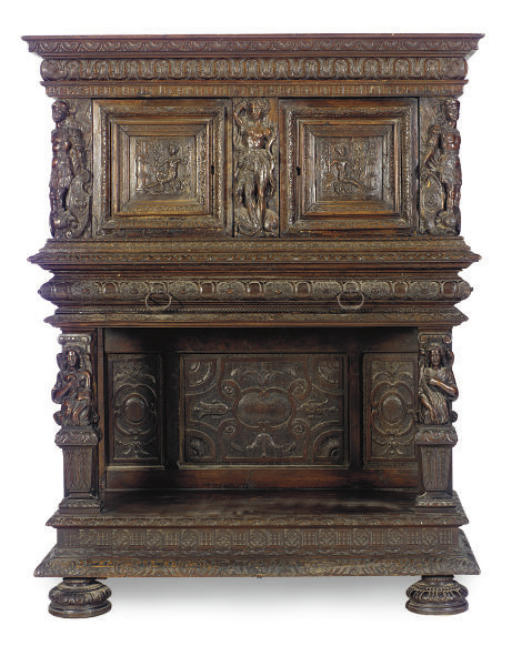 A FRENCH WALNUT CABINET-ON-STA