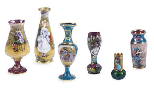 A GROUP OF SIX FRENCH ENAMEL M