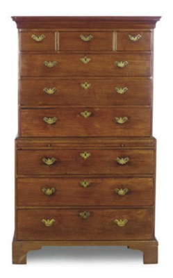 A GEORGE II MAHOGANY CHEST-ON-