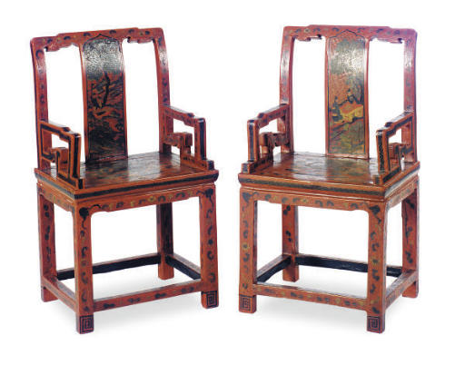 A PAIR OF CHINESE RED-LACQUER