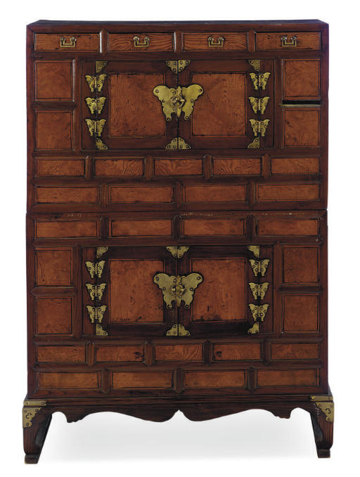 A KOREAN SOFTWOOD CABINET-ON-S