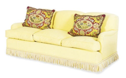 A YELLOW COTTON UPHOLSTERED SO