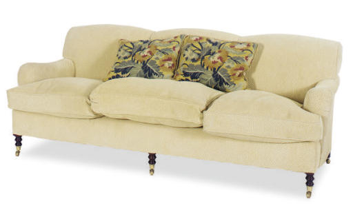 A BEIGE VELORE TWILL UPHOLSTER
