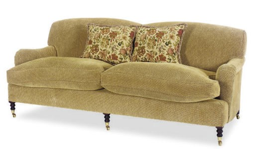 A TAN VELORE TWILL UPHOLSTERED