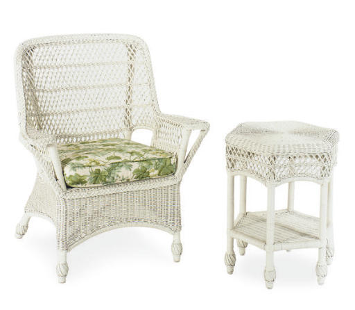 A SET OF WHITE-PAINTED WICKER