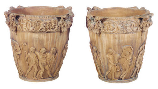 A PAIR OF RELIEF MOLDED GARDEN