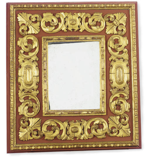 A RED PAINTED AND PARCEL-GILT