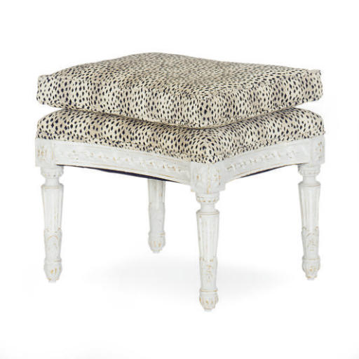 A GREY-PAINTED AND UPHOLSTERED