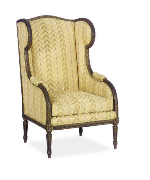 A PARCEL-GILT AND UPHOLSTERED