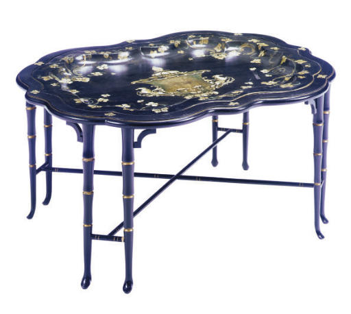 A TOLE-PEINTE TRAY-ON-STAND,