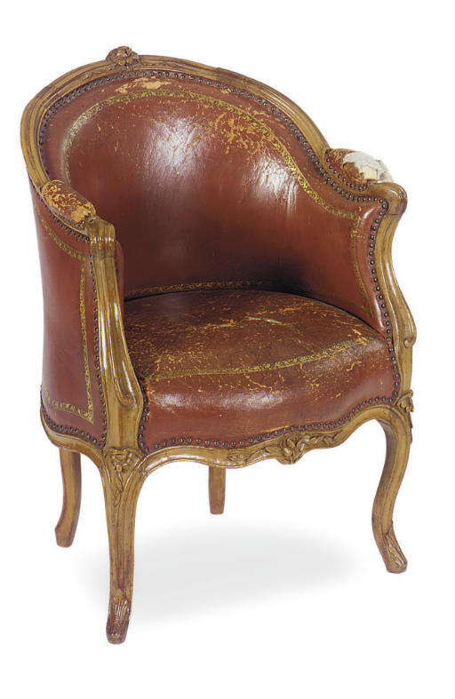 A LOUIS XV BEECHWOOD AND LEATH