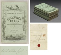 """DICKENS, Charles.  The Posthumous Papers of the Pickwick Club...Edited by """"Boz.""""  London: Chapman & Hall, April 1836-November 1837."""