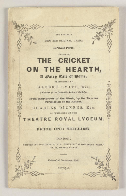 [THE CRICKET ON THE HEARTH]. -
