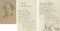 """DICKENS, Charles. Autograph manuscript signed (""""T. Sparkler,"""" with Dickens's characteristic flourish), a humorous verse invitation to Mark Lemon (""""Lemon is a little hipped...""""), also signed by members of the Dickens family circle: his wife Catherine Hogarth Dickens (""""Catherine Dickens,"""" 1815-1879), Georgina Hogarth (1827-1917), Katie Dickens (1839-1929), Mary Dickens (1838-1896), the illustrator John Leech (signed in mock childish fashion, 1817-1864) and his wife Annie Leech, boldly headed at top of first page """"New Song,  Tune: Lesbia hath a beaming eye,"""" comprising two eight-line stanzas, each with a four-line refrain. N.d. [June 1849]."""