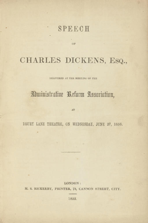 DICKENS, Charles. Speech of Ch