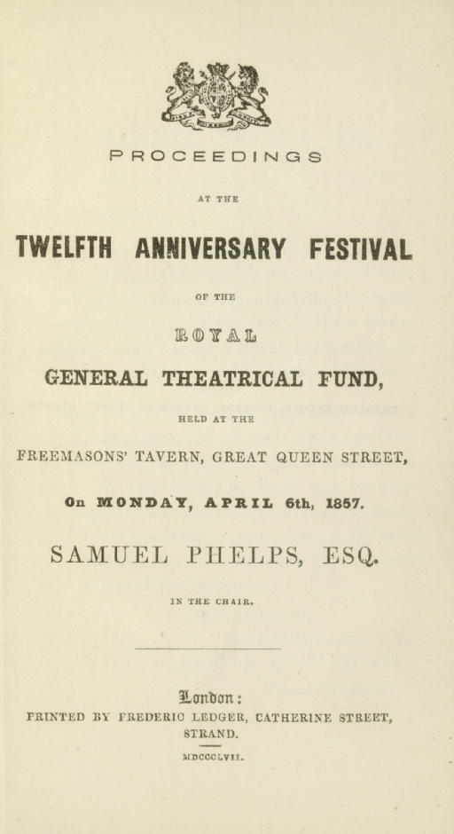 PHELPS, Samuel, Chairman. Proc