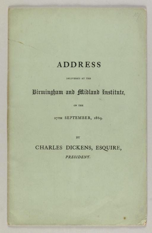 DICKENS, Charles. Address Deli