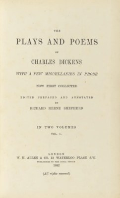 DICKENS, Charles. The Plays an