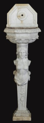 A CARVED MARBLE FIGURAL WALL F