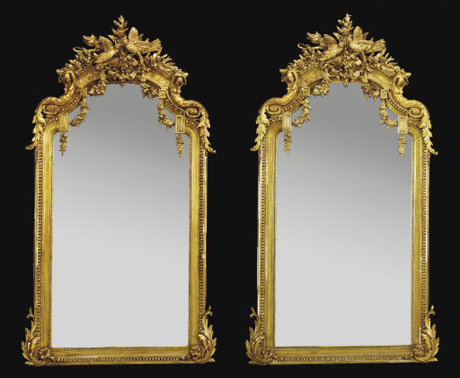 A PAIR OF FRENCH GILTWOOD MIRR