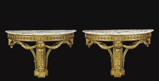 A PAIR OF GILTWOOD MARBLE-TOPP