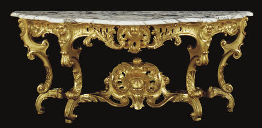 A GILTWOOD MARBLE-TOPPED CONSO