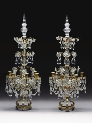 A PAIR OF GILT-METAL AND CUT-G