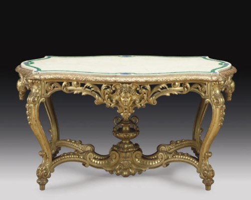 A GILTWOOD MARBLE-TOPPED CENTR